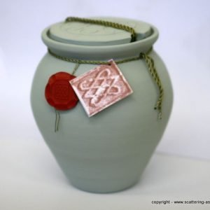 blue ashes urn water